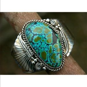 Natural Turquoise 925 Silver Women's Ring Sz 10